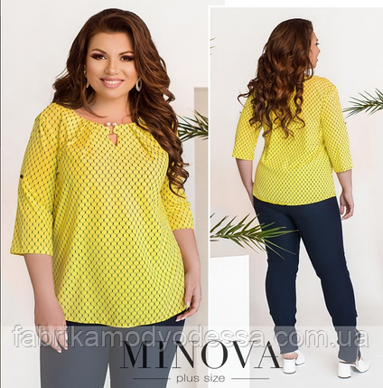 Летняя блуза батал Minova Размеры: 50.52.54.56, фото 2