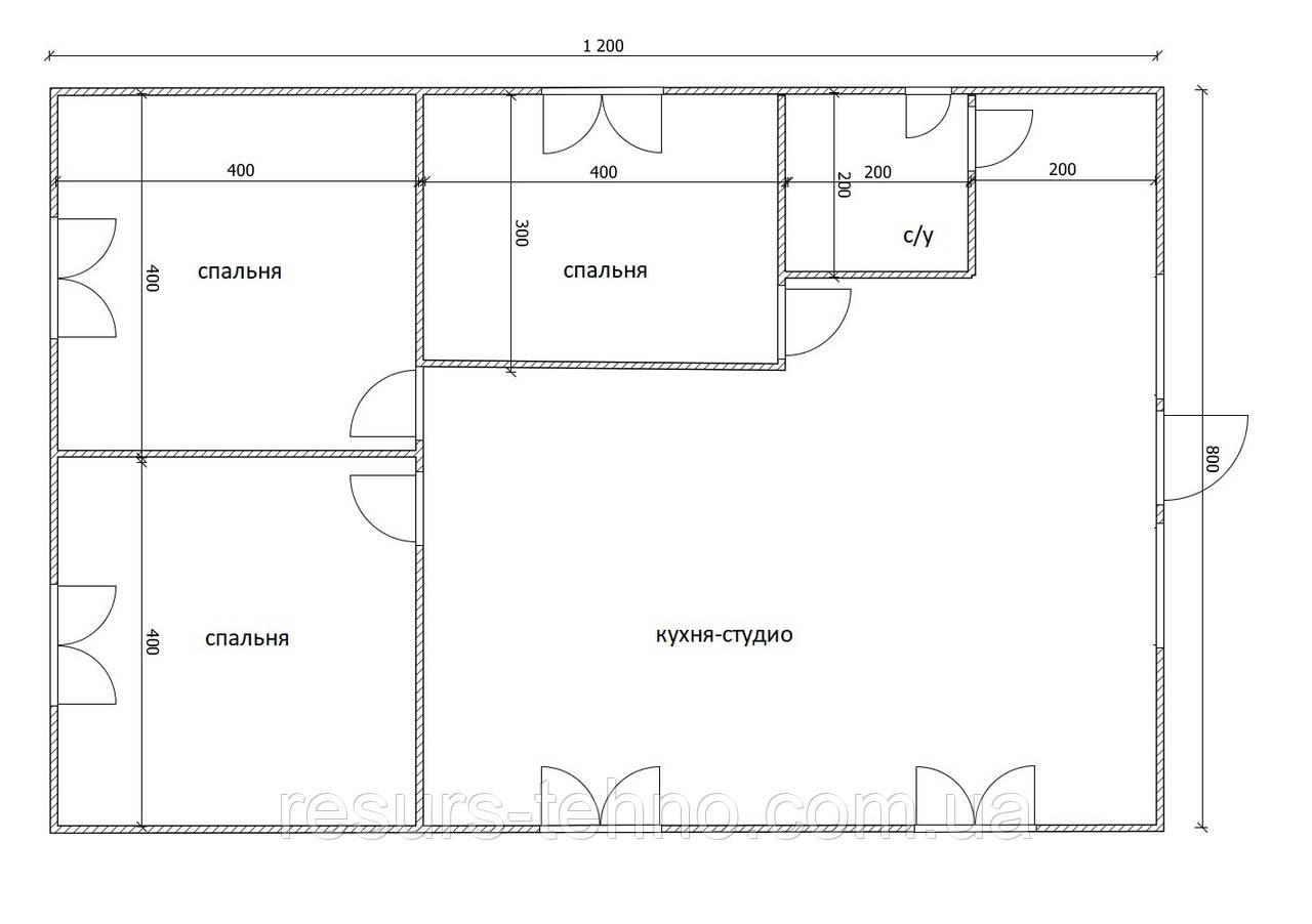 Дом 12м х 8м