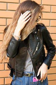 Короткая женская куртка из экокожи с поясом 42-48 р
