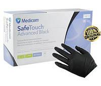 Перчатки нитриловые черные Medicom  без пудры размер M ( 100 шт в упаковке)