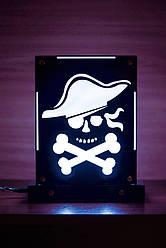 Декоративный настольный ночник Пират, теневой светильник, несколько подсветок (на пульте)
