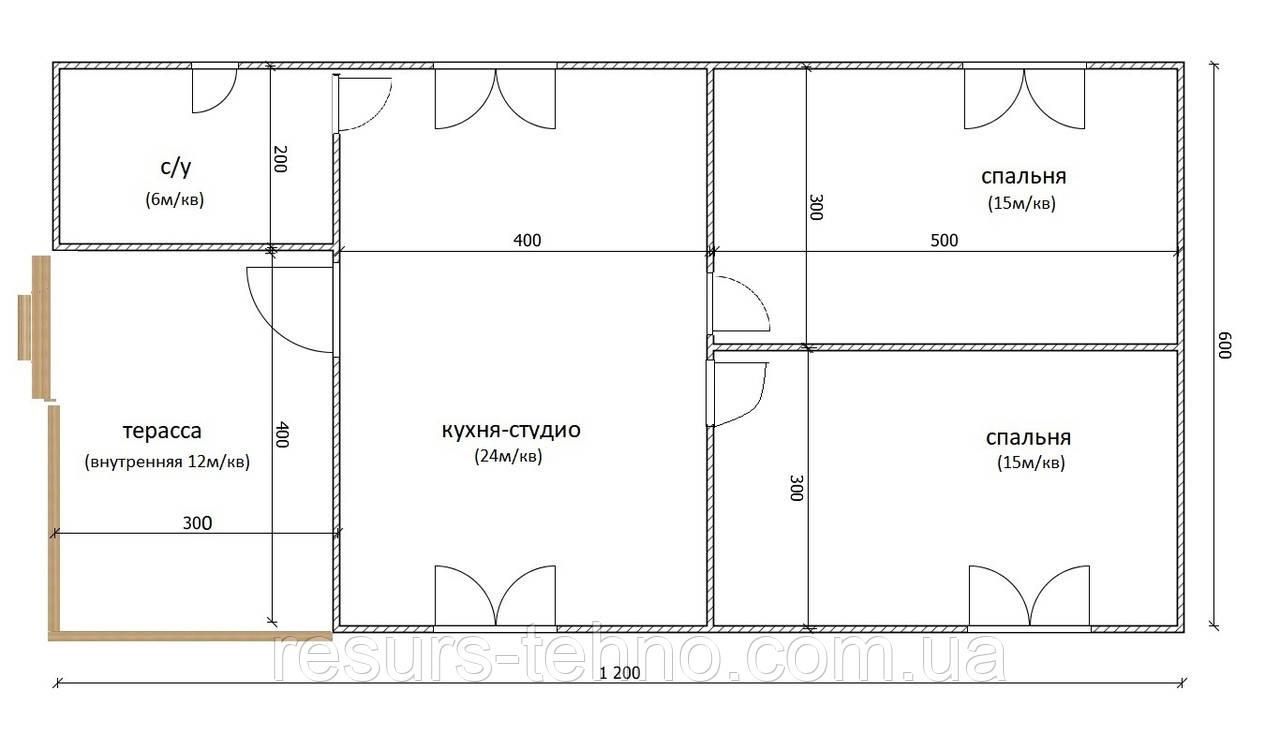 Дом 12м х 6м с внутренней терассой