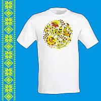 """Чоловіча футболка - вишиванка з принтом """"Птахи і український орнамент"""" Push IT S, Білий"""