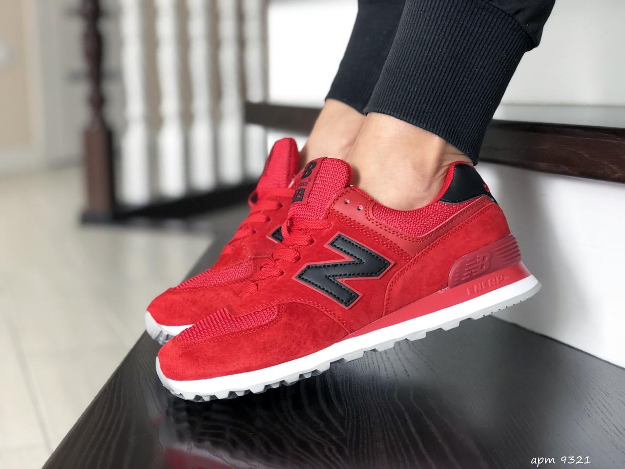 Замшевые женские кроссовки New Balance 574, красные / кросівки Нью Баланс (Топ реплика ААА+)