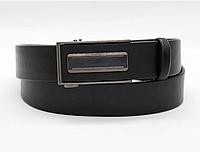 Кожаный мужской ремень с автоматической пряжкой Черный
