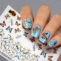 Наклейки бабочки на ногти - Слайдер дизайн для ногтей Fashion nails - насекомые, бабочки, стрекозы М65