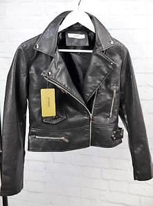 Женская укороченная куртка черного цвета из экокожи 44-48 р
