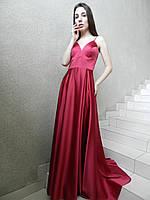 Вечернее нарядное платье-сарафан на выпускной на свадьбу, из красно-рубинового атласа, длинное, коктейльное