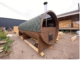 Деревянная баня бочка с панорамным окном из термодерева 6,0х2.4 под ключ