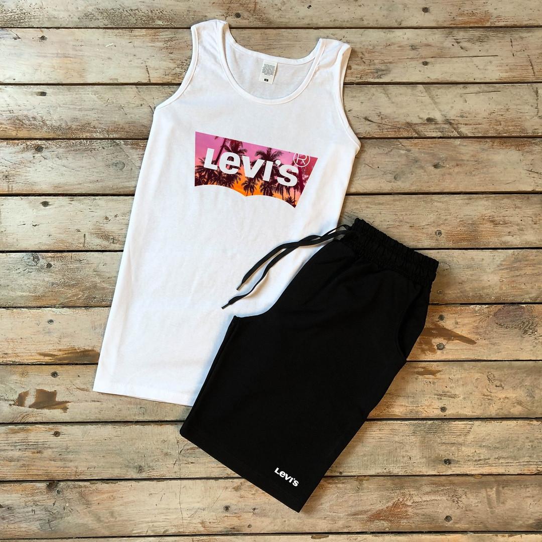 Майка + шорты Levis (мужской летний костюм ). Мужской комплект майка +шорты.