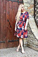 Платье с коротким рукавом Хлоя  красные крупные цветы на синем фоне