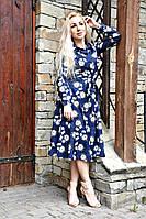 Платье коктейльное Стелла тёмно-синего цвета с цветочным принтом