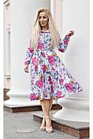 Платье-миди Стелла яркие цветы на белом фоне весна-лето рубашечного кроя