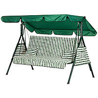 """Качели для дачи сада трехместная раскладная """"Дача"""" до 280 кг нагрузки (Бязь Зеленая полоска) + подушки"""