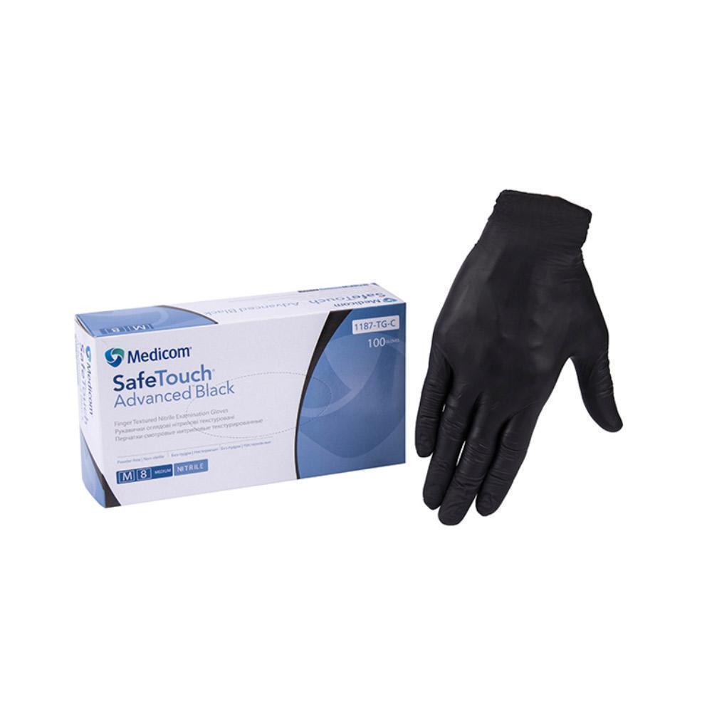 Перчатки нитриловые черные Medicom без пудры размер XL ( 100 шт в упаковке)