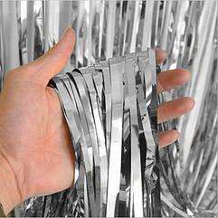 Шторка фольга для фотозоны 1х3 метра (серебро)