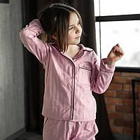 """Детская пижама с кантом """"Розовая"""" Сатин премиум, штаны и рубашка длинный рукав"""