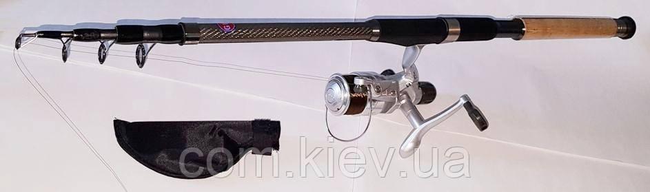 Комплект Спиннинг+Катушка с силиконовой приманкой  2,4м