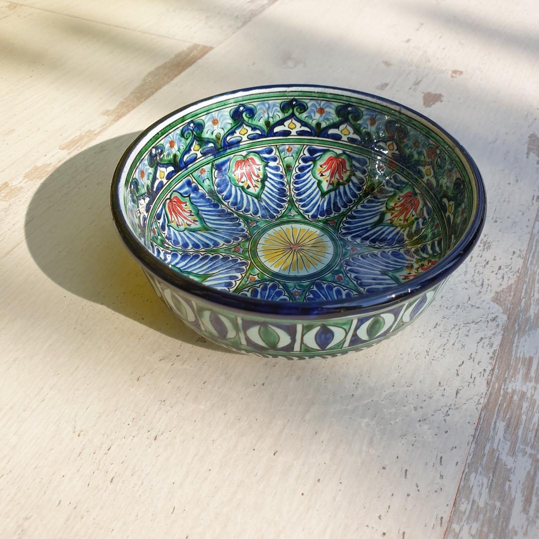 Керамическая пиала d 11 cm с плоским дном (8). Авторская роспись. Узбекистан