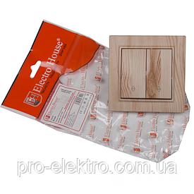 ElectroHouse Выключатель двойной проходной Светлое дерево Enzo IP22