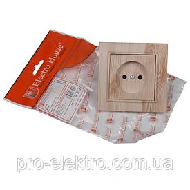 ElectroHouse Розетка без заземления Светлое дерево Enzo 16A IP22