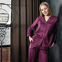 """Женская пижама с кантом """"Фуксия"""" Сатин премиум, штаны и рубашка длинный рукав"""