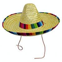 Шляпа бежевое сомбреро d=50 см натуральная соломка  . Продажа и прокат.