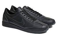 Чоловічі кросівки великого рзміру натуральна шкіра чорні NK 77 Black р. 46 47 48 49 50, фото 1