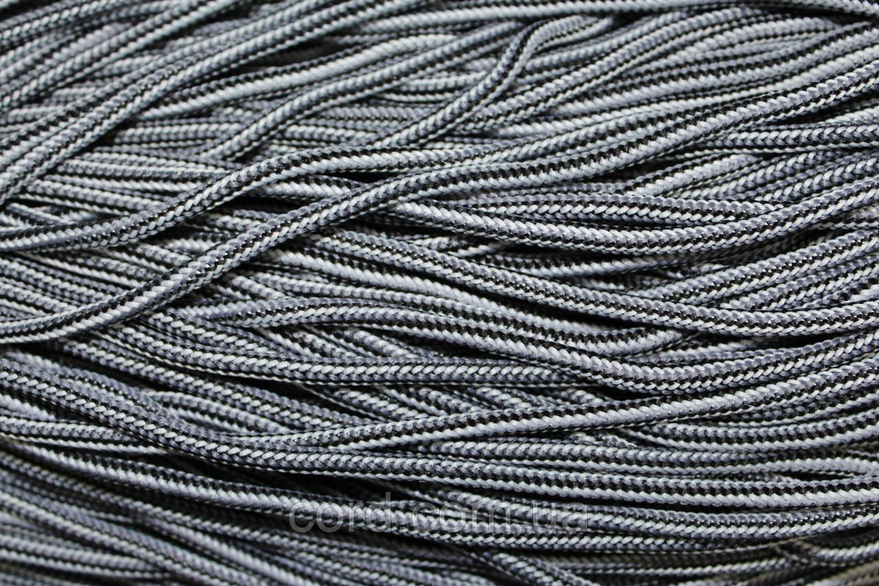 Шнур круглый 5 мм 200м черный + белый + черный