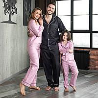 Пижамы парные с кантом, Сатин премиум, штаны и рубашка длинный рукавв стиле Фэмили Лук