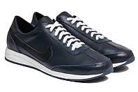 Чоловічі кросівки великого рзміру натуральна шкіра чорні NK 77 Blue р. 46 47 48 49 50, фото 1