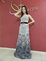 Нарядное вечернее длинное платье рыбка на свадьбу, на выпускной, светло-серое, с шифоновыми цветами, декольте