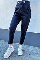 Clew Крутые mom джинсы с защипами и высокой талией - черный цвет, 36р