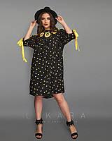 Платье свободного кроя для современных девушек - Размеры: 50-52,54-56; РОЗНИЦА +30грн, фото 1