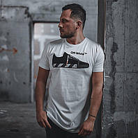 Мужская футболка летняя Off White Sneaker белая Турция. Живое фото. Топ качество
