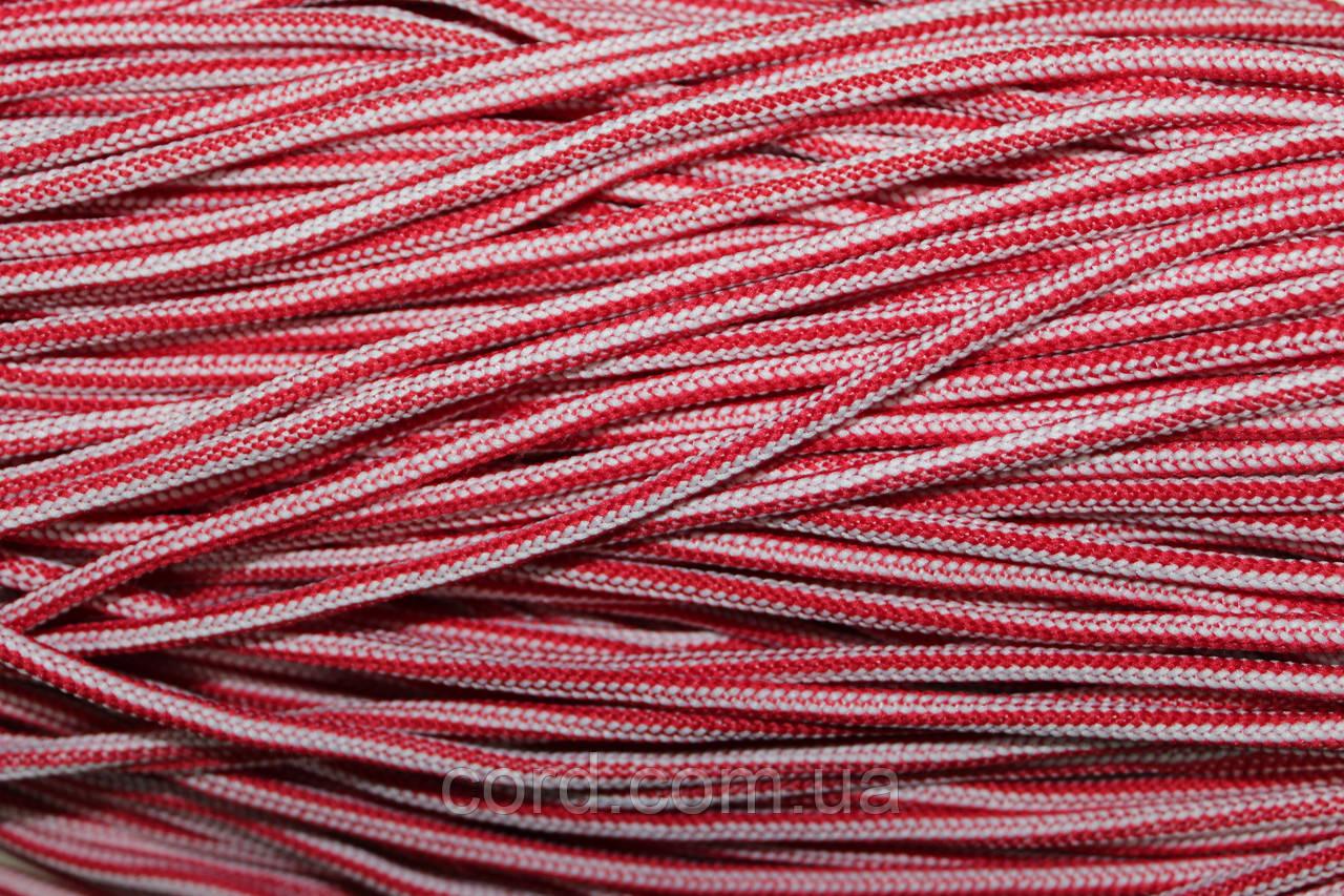 Шнур круглый 5 мм 200м красный + белый