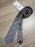 Галстук шёлковый серый в полоску SIR OLIVER (оригинал), фото 1