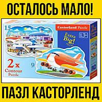 Самолёты 2 изображения большие детские пазлы на 15 и 9 элементов | пазл касторленд castorland літак