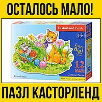 Кошка и котенок большой детский пазл на 12 элементов | пазлы касторленд castorland для детей семья