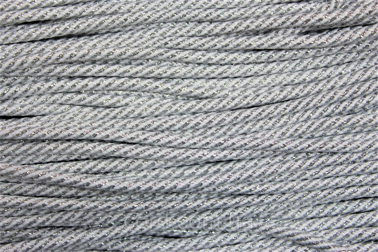 Шнур круглый 5 мм 100м белый + люрекс серебро
