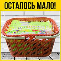 Набор конструктора в красной корзинке   детский пластмассовый кубики для детей малышей ребенка