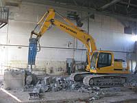 Деформация, разрушение бетона, скалы гидромолотом.