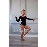Купальник с длинным рукавом черный для гимнастики и танцев