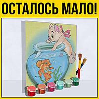Кот и рыбка | картина по номерам 18Х24 для детей картины картину роспись по холсту аквариум животные
