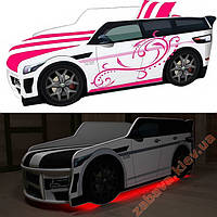 Кровать машина для девочки Premium подсветка Led Внедорожник с матрасом, фото 1