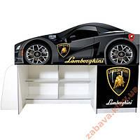 Кровать машина со шкафом и полками Ламборджини, фото 1