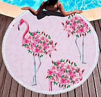 Круглое пляжное полотенце Цветочный фламинго (150 см.)