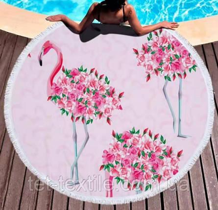 Круглое пляжное полотенце Цветочный фламинго (150 см.), фото 2