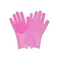 Силіконові рукавички для миття посуду, Рожевий