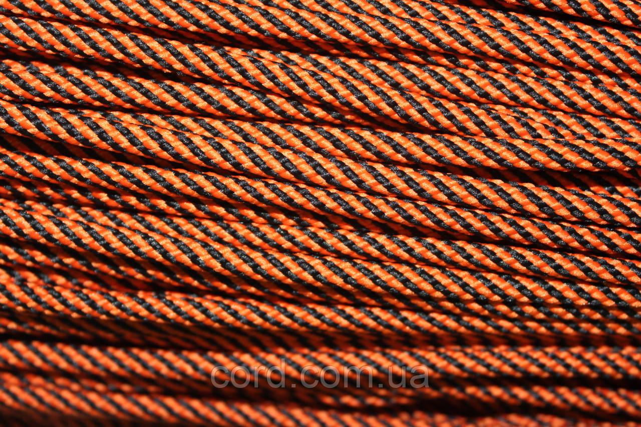 Шнур круглый 5 мм 100м оранжевый + черный